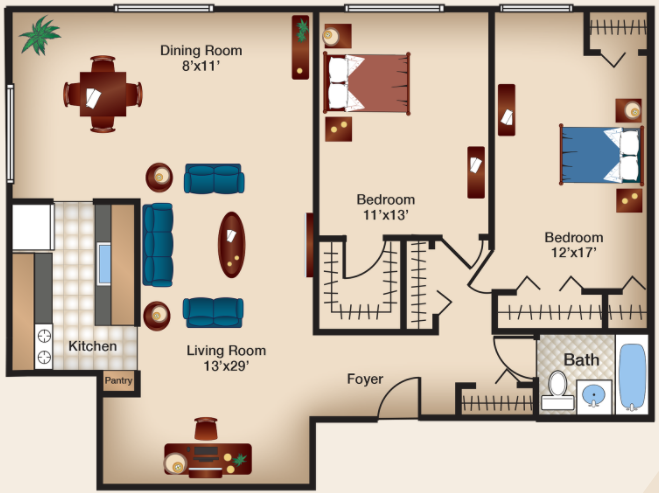 Two Bedroom II - 4000 Massachusetts Apartments